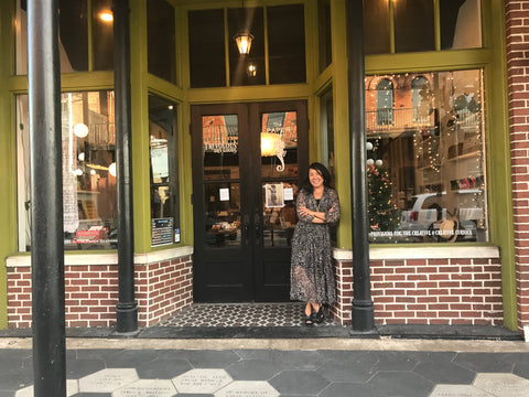 Tona Bell owner of Paper Seahorse in front of her pop-up shop in Ybor City