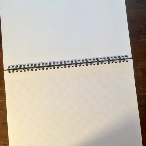 mnemosyne large grid notebook laying open flat
