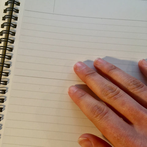 touching the paper inside of a Mnemosyne notebook