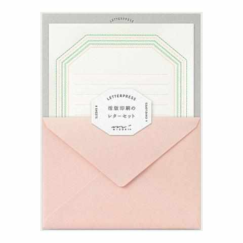 Letterpress Letter Set - Frame Design with Pink Envelope