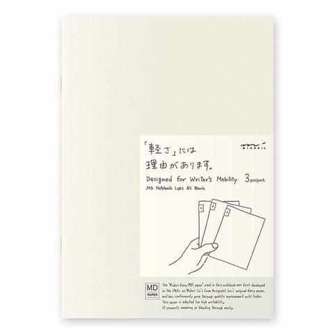 MD Paper Notebook Light - A5 Blank - Set of 3
