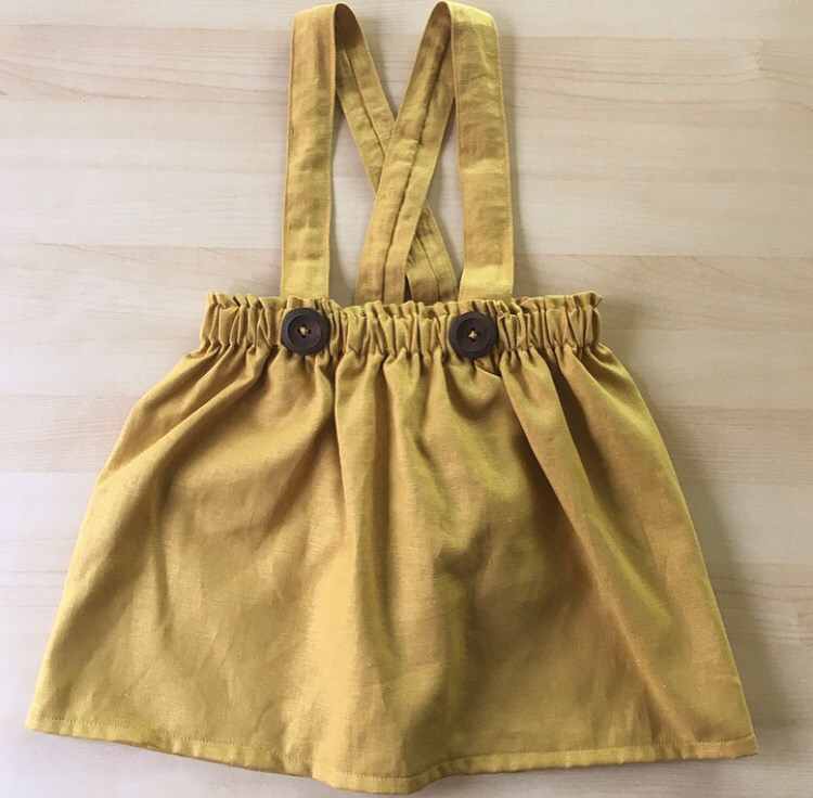 Mustard suspender bloomers/skirt with your choice of straps