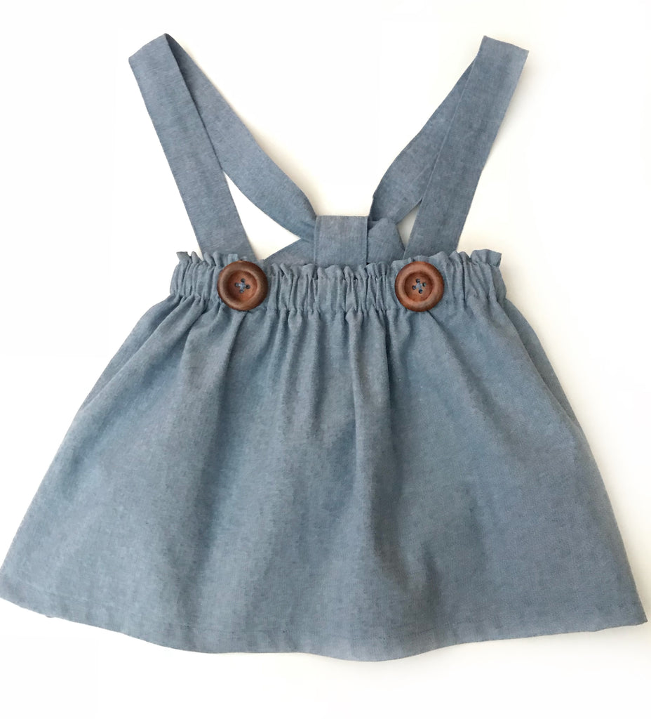 Chambray bloomers or jumper skirt with your choice of straps