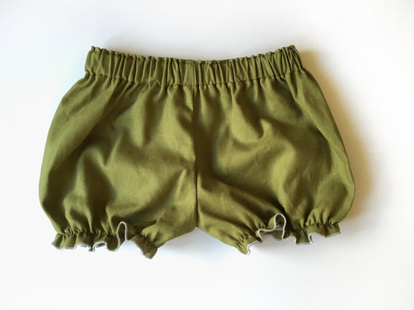 Olive Green Linen Bloomers