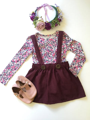 Plum suspender skirt/bloomers with your choice of straps