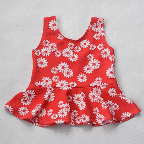 Red floral tank top peplum