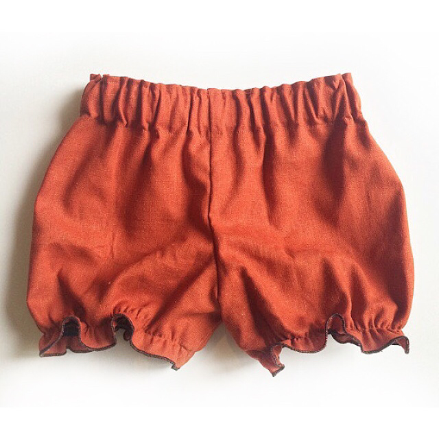 Rust / burnt orange LINEN fabric bloomers shorts baby toddler fall