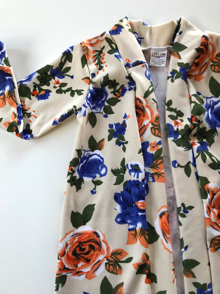 Cream Floral Long Line Cardigan