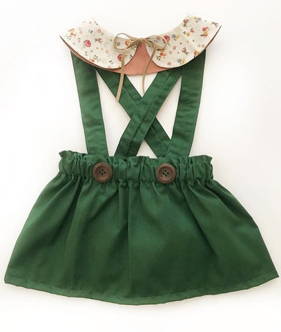 Hunter green suspender bloomers/skirt with your choice of straps