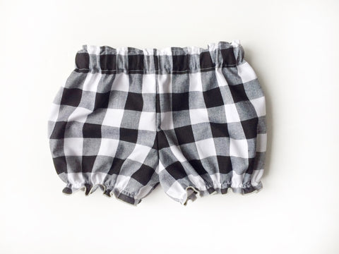 Black & White BIG Gingham Check Cotton Bloomers