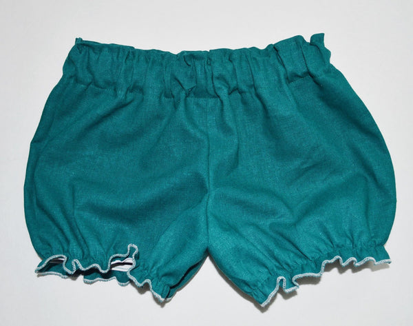 Teal linen baby bloomers spring summer