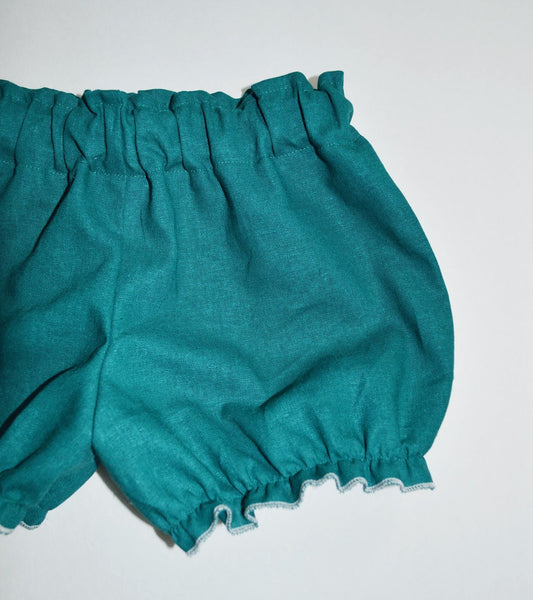 Teal linen baby bloomers fall