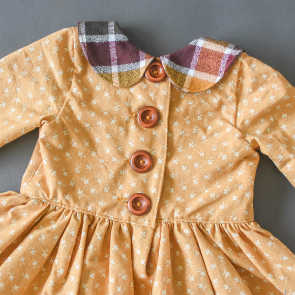 Mustard floral with cider plaid Peter Pan collar dress