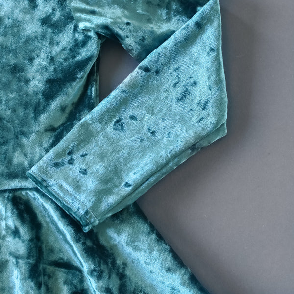 Fern green crushed velvet twirl dress