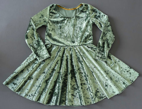 Green crushed velvet twirl dress