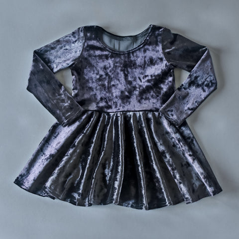 RTS size 2T Black crushed velvet twirl dress
