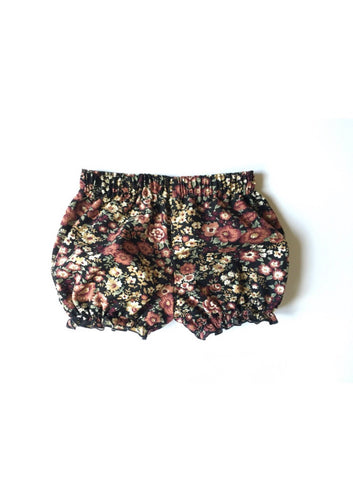 Black floral cotton corduroy Bloomers