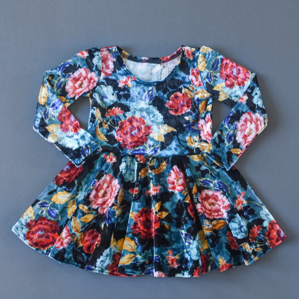 RTS size 2T Teal floral crushed velvet twirl dress