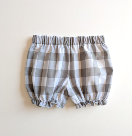 Grey & White Gingham Check Cotton Bloomers