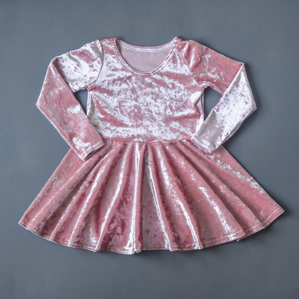 Dusty pink crushed velvet twirl dress