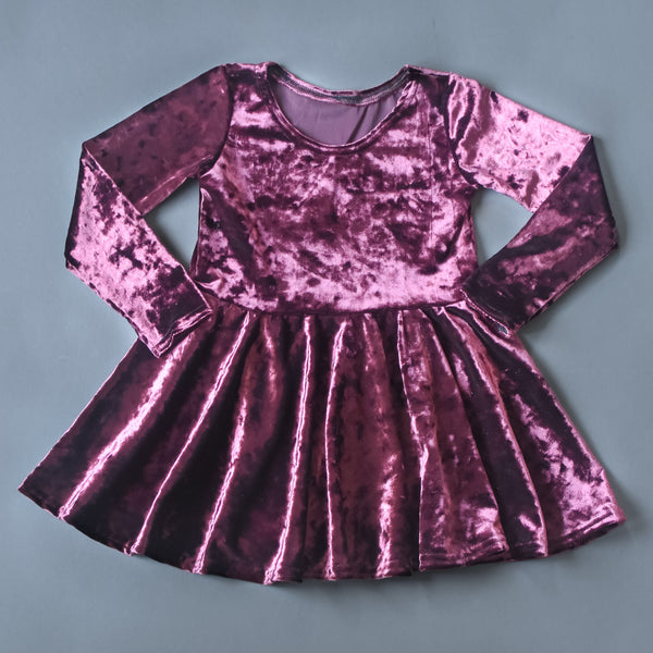 RTS size 2T Fig crushed velvet twirl dress