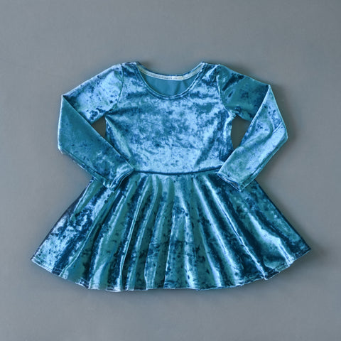Teal crushed velvet twirl dress