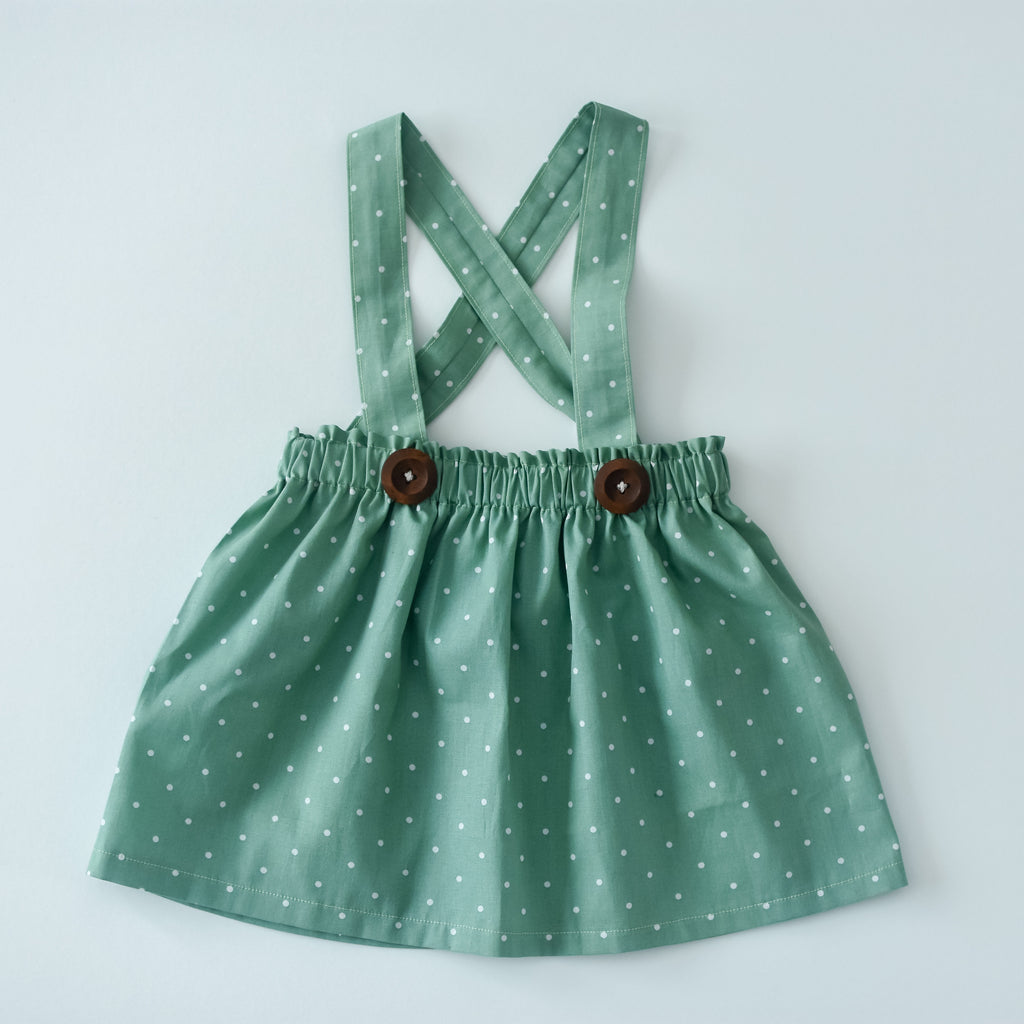 Sage green polka dots jumper skirt