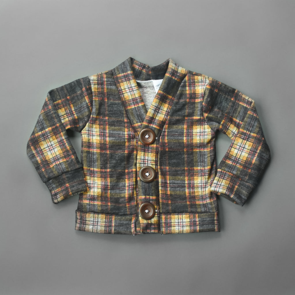 Plaid Sweater Knit Grandpa Cardigan