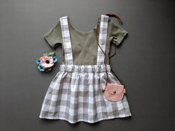 Grey & white gingham jumper skirt / suspender bloomers