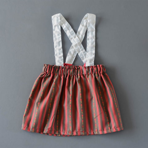 Holiday stripe jumper skirt / suspender bloomers