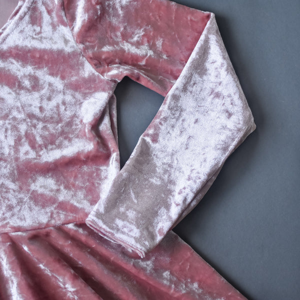 RTS size 2T Dusty pink crushed velvet twirl dress