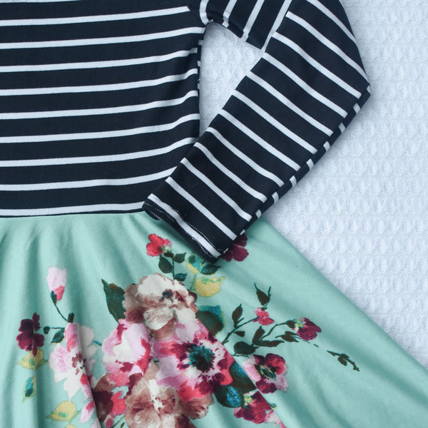 Black and white stripe with aqua floral twirl dress