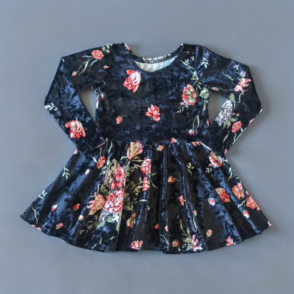 RTS size 2T Black floral crushed velvet twirl dress