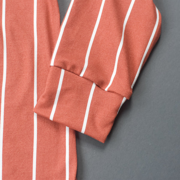 TerraCotta Stripe Knit Long Cardigan