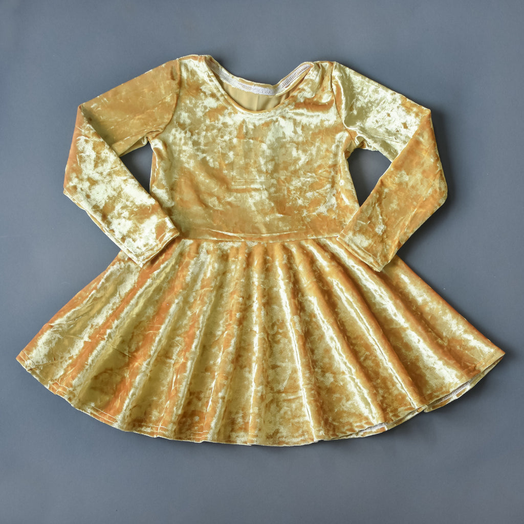RTS size 2T Gold crushed velvet twirl dress