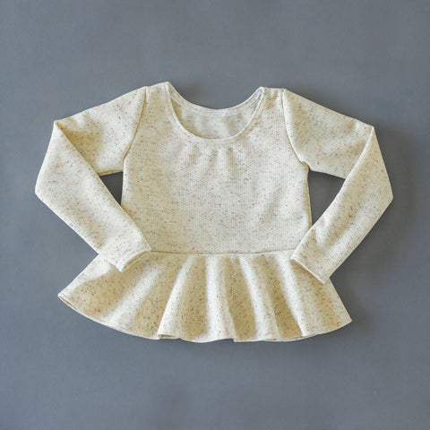 Confetti vintage knit long sleeve peplum