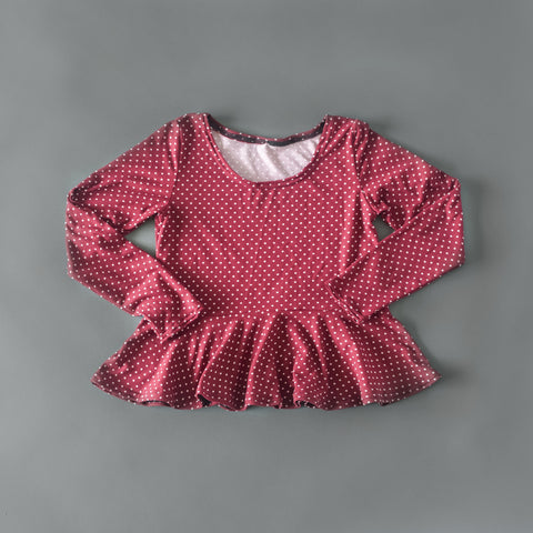 Burgundy polka dot long sleeve peplum