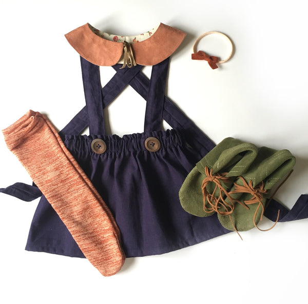 Navy blue suspender skirt/bloomers with your choice of straps