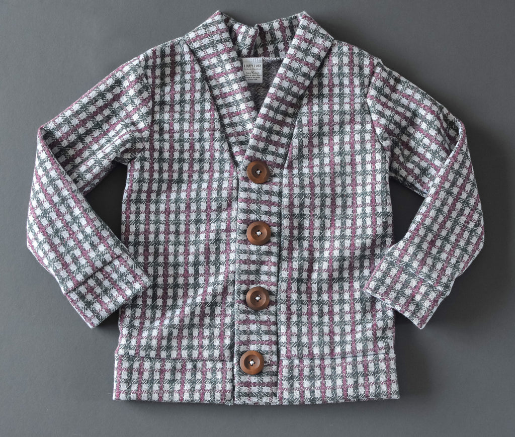 Green & Red Check Grandpa Cardigan