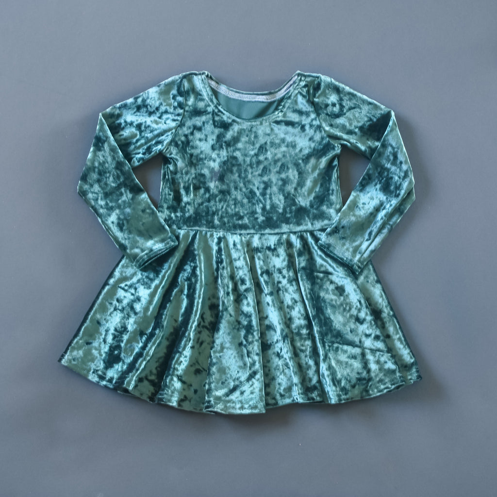 RTS size 2T Fern green crushed velvet twirl dress