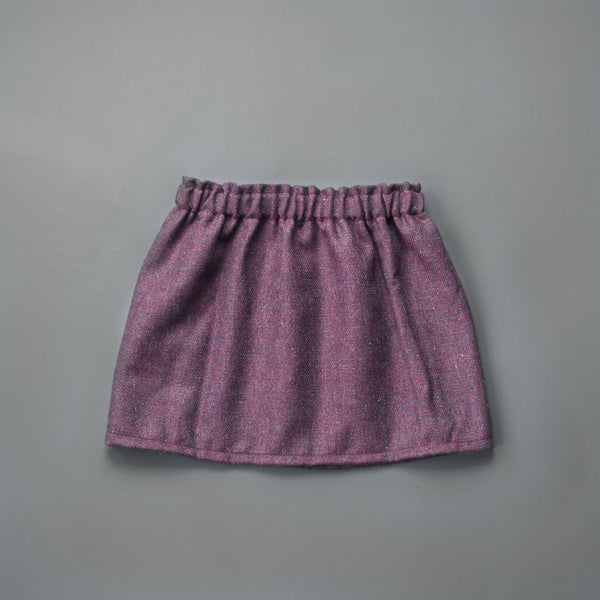 Plum Herringbone Wool Skirt