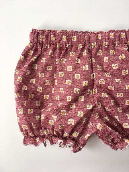 Vintage merlot with yellow flowers cotton fabric bloomers