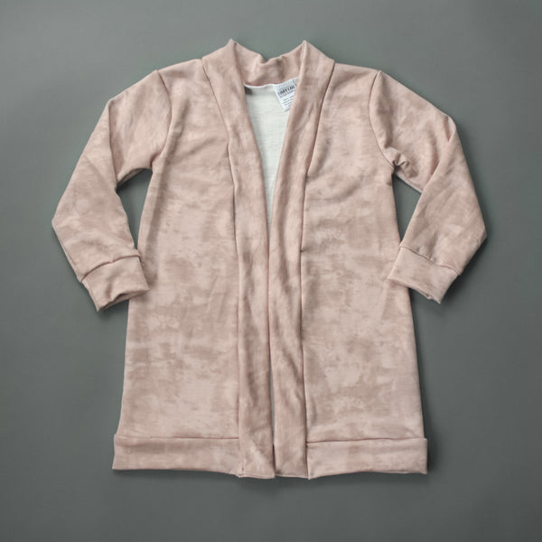 Dusty Pink Two Tone Knit Long Cardigan