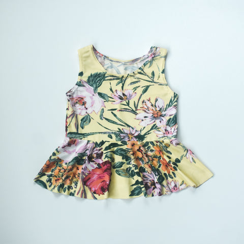 Yellow wildflower tank peplum