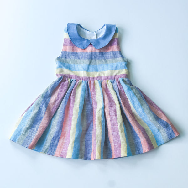 Linen stripe with chambray collar dress