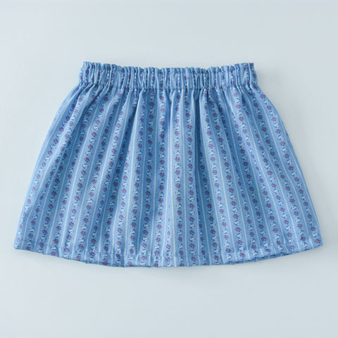 Vintage Blue Floral Stripe skirt