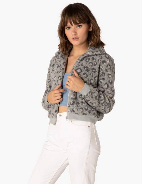 BEYOND YOGA  All Time Gray Leopard Bomber Jacket
