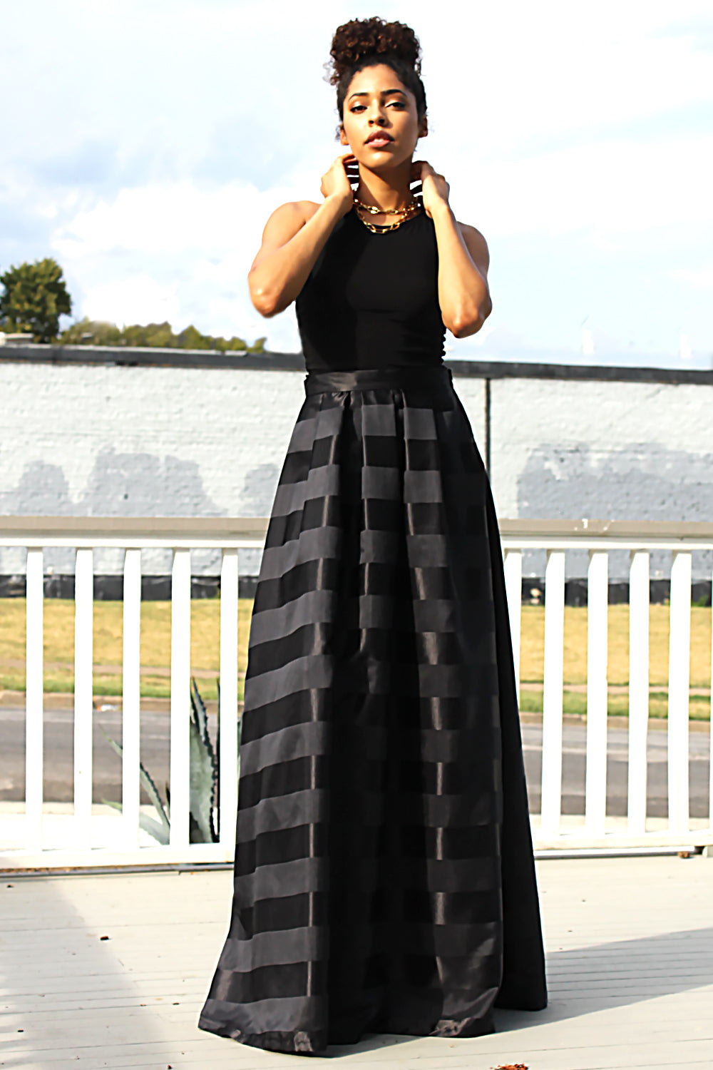 ANYA BLACK STRIPE FORMAL MAXI SKIRT W/ POCKETS