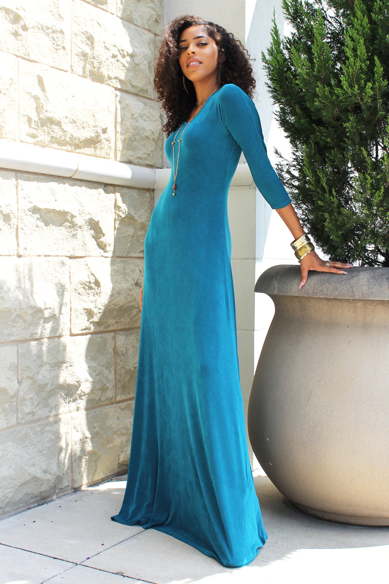 TEAL NORAH 3/4 SLEEVE MAXI DRESS - DIMILOC