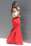 MARRRIA RED FISHTAIL MAXI SKIRT